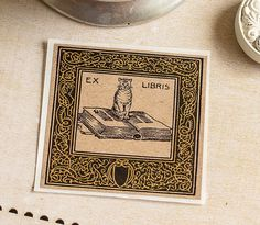 PERSONALIZED Bookplate Stickers Kraft Cat  by SunshineandRavioli2 -- For books from the Sarah Bradford Landau collection