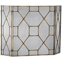 Geometric silver and gold 32 high fireplace screen for Silver fireplace doors