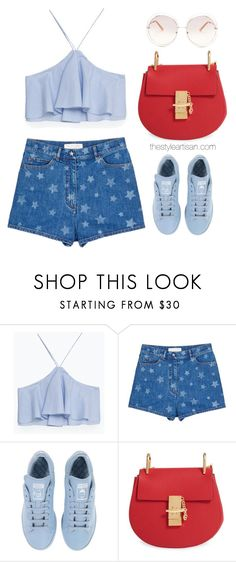 """""""Valentino Star print denim shorts"""" by thestyleartisan ❤ liked on Polyvore featuring Zara, Valentino, adidas, Chloé, redwhiteandblue and july4th"""