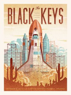The Black Keys (Phoenix) poster by DKNG - Retro style rocket design Rock Posters, Band Posters, Concert Posters, Music Posters, Retro Posters, Space Posters, Poster Vintage, Rock And Roll, The Black Keys