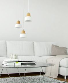 Pendant lamp metal and solid ash wood Pendant Lamp, Ash, Couch, Metal, Wood, Table, Furniture, Home Decor, Gray