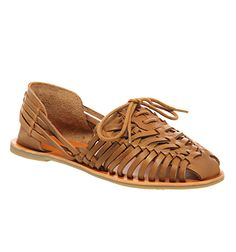 Office Leon Lace Up Woven Shoe Tan Leather - Sandals