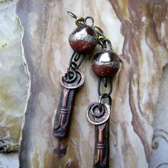 mixed metal assemblage earrings, Ancient Orbs, mixed metal jewelry, unusual ancient style earrings, scorched earth ceramics, AnvilArtifacts