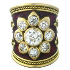 Elizabeth Gage Gold Enamel Diamond Ring. UK 21st Century