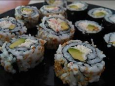 Sushi: California Rolls (both Inside and outside roll styles)- This was actually really helpfull! I am going to have to go and get a sushi kit from the supermarket now! Sushi Recipes, Seafood Recipes, Dessert Recipes, Cooking Recipes, Diy Sushi, Sushi Kit, Sushi Love, How To Make Sushi, Sushi Rolls