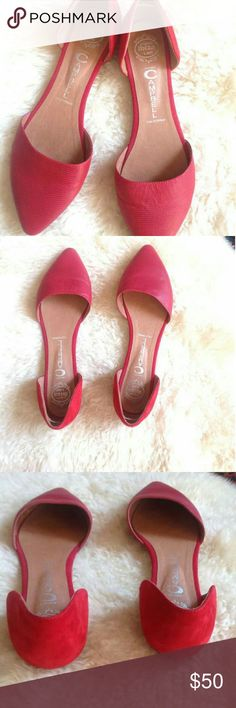 JEFFREY CAMPBELL Red Pointy Flats Used once. Minimum signs of wear. Adorable In Love Dorsey Flats perfect for any closet.  Leather/Suede  Almond Toe flats Jeffrey Campbell Shoes Flats & Loafers
