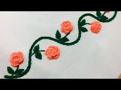 Hand Embroidery:borderline embroidery design l border design l border embroidery design l rose flowe - YouTube