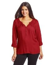 Lucky Brand Womens Plus-Size Double Pocket Top