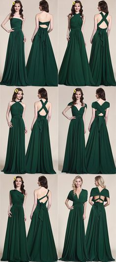 Convertible Dark Green Bridesmaid Dress Evening Gown (07154704) 34bf920e8204