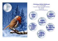 Christmas Robin Redbreast - 5 x 7 Card Topper & Assorted Greetings - PU 300 DPI by DigitalHeaven on Etsy