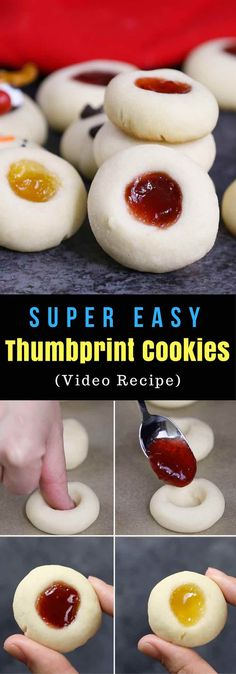 Thumbprint Cookies with 5 fun variations and no chilling required. They are the classic melt-in-your-mouth shortbread cookies and addictive treats for parties, holidays and just everyday and perfect as gifts too. Jam Thumbprint Cookies, Reindeer Thumbprint Cookies, Snowman Thumbprint Cookis, Polar Bear Paw Thumbprint Cookies, and Christmas Thumbprint Cookies via @tipbuzz