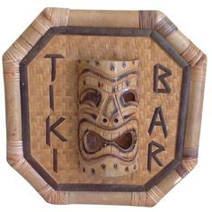 Vintage Bamboo Rattan Tiki Bar Sign ($165) ❤ liked on Polyvore featuring home, home decor, wall art, signs, bamboo wall art, vintage home decor, rattan wall art, vintage signs and vintage wall art