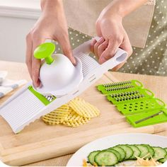 7 in 1 Plastic Vegetable Fruit Slicers Cutter Adjustable Stainless Steel Blades Multi-function ABS Peeler Grater Slicer