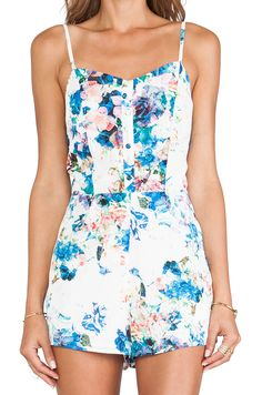 Lovers + Friends Escape Romper in Blue Floral