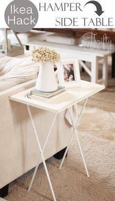 Ikea Hack -Hamper into side table http://www.thriftyandchic.com/2014/03/ikea-hack-hamper-into-side-table.html