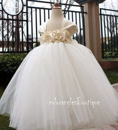 Flower Girl Dress Antique white Ivory tutu by coloranglesBoutique