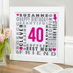 40th Birthday Gift For Her Of Personalised Age Square Print