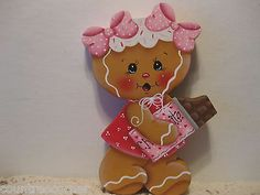 HP Gingerbread candy bar girl Valentines Day shelf sitter hand painted