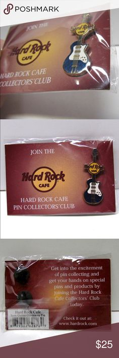 """Hard Rock Cafe Blue Guitar Pin Collectors Club Hard Rock Cafe Blue Guitar Pin Collectors Club, New in Package - Lapel Pin - Scatter Pin - Tie Tac - Hat Pin - Collectible Pin  Excellent Like New Condition; Still sealed in the original packaging. Please See pictures for condition and details, thanks. Pin Measures approximately; 1 1/2"""" tall, by 1/2"""" wide Accessories Jewelry"""