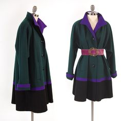 Vintage 80s color block swing coat.  Love Swing Coats, they look great with pencil skirts or leggings. $57.00