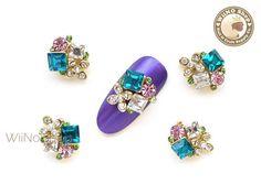 Floral Cluster Nail Metal Charm Nail Art - 2 pcs