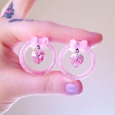 """Image of MADE TO ORDER 25mm (1"""") - 50mm (2"""") Pink heart swarovski crystal & bow glitter tunnels"""