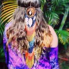 Dream Catcher Headpiece - Wire wrapped - Recycled materials - Tribal - Belly Dancer - Bohemian <3 Jenna Lee, Native Australians, Australian Birds, Belly Dancers, Recycled Materials, Bird Feathers, Handcrafted Jewelry, Wire Wrapping, Headpiece