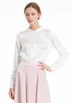 52ca997ba6c2e 22mm feminine slim fit silk shirt Latest Tops