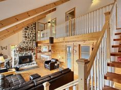 Nestled at the mountain& foot, on the shore of an amazing lake, the Scandinavian& vista, whether looking out one of the many large windows or . Scandinavian Cottage, Location Chalet, Saint Sauveur, Cozy Cabin, Large Windows, Foyer, Stairs, Loft, Bed