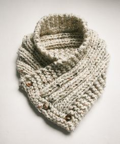 Hand knitted buttoned cowl scarf.  Adult size. Oatmeal.  Three button closure. by RosenLilyCreationz on Etsy