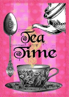 Tea Party ~ Tea Time in Hot Pink by FrogsAttic Coffee Time, Tea Time, Tea Quotes, Cuppa Tea, Tea Art, My Cup Of Tea, High Tea, Drinking Tea, Afternoon Tea