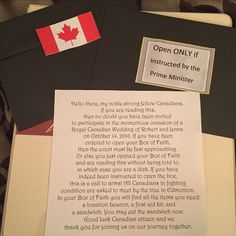 Royal Canadian Wedding Box of Faith Wedding invitation Letter from the Prime Minister