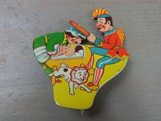 Æ E12 * Used German US Zone Punch Clicker Tin Toy Noisemaker Rare Vintage 1940's