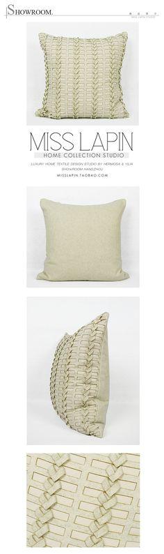 MISS LAPIN/简约现代样板房/设计师家居软装高档靠包抱枕/米色立体手工方枕/布艺-淘宝网