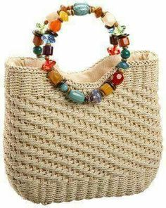 """New Cheap Bags. The location where building and construction meets style, beaded crochet is the act of using beads to decorate crocheted products. """"Crochet"""" is derived fro Bag Crochet, Crochet Handbags, Crochet Purses, Purse Handles, Straw Handbags, Macrame Bag, Boho Bags, Craft Bags, Beaded Bags"""