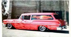 Station Wagon Cars, Lowrider Trucks, Fast Times, Amazing Cars, Awesome, Impala, Bel Air, Car Show, Custom Paint