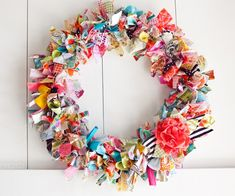 Spring Wreath made with bright fabrics or fabric scraps