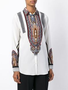 Etro paisley print silk shirt White - Red