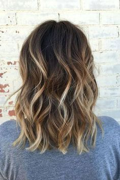 Dark Brown Lob with Buttery Blonde Balayage