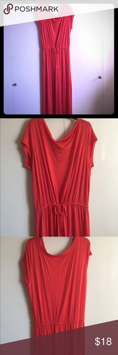 Gap burnt orange floor length dress. This dress cinched at the waist and is floor length. It's can be worn off one shoulder or up on both. Pairs well with heels or flats and is super comfy! GAP Dresses