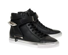 Herry black with silver sole and black strap with shark sneakers with interchangeable straps Ss 15, Spring Summer 2015, Men's Collection, Shark, High Top Sneakers, Footwear, Leather, Shoe, Sharks