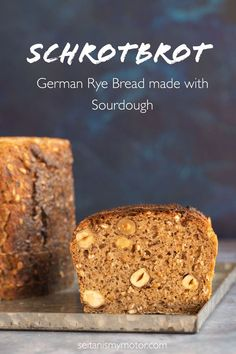 Schrotbrot is a type of German Bread made with cracked rye and sourdough. It is a wholesome, wholemeal bread that tastes delicious and keeps fresh for a long time. Rye Berries, German Bakery, German Bread, Cracked Wheat, No Rise Bread, Rye Bread, Seitan, How To Make Bread, Nutritious Meals