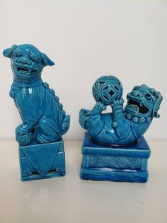 Vintage Pair Turquoise Blue Chinese Foo Dogs on Etsy, $208.00