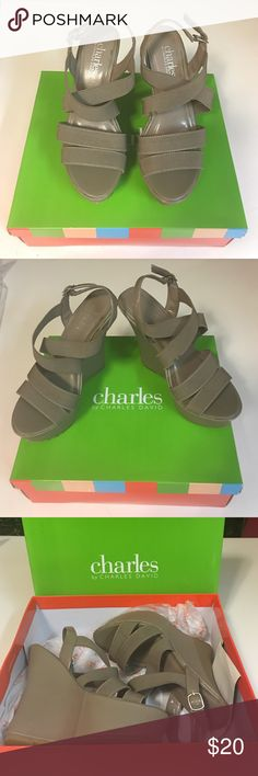 """Charles by Charles David Wedges Wore it once, great condition. Size 5.5. Flick heels & wedges from Charles by Charles David. Very comfortable wedges, elastic upper with patent trim. I'm size 5 and fits me, but actual size is 5.5.  1"""" platform, 4½"""" wedge. Charles David Shoes Wedges"""