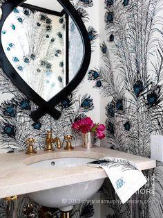 Carnegie Hill PreWar by Christina Murphy Interiors! Love the #peacockfeather #wallpaper!!