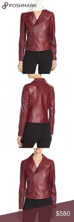 1bfa5bfabc454 Elie Tahari Mae Leather Moto Jacket Winterberry Elie Tahari Mae Leather  Moto Jacket. Fits true