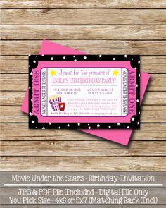 Digital Birthday Invitation - Movie Under the Stars - 5 x 7 or 4 x 6 Digital File - Birthday Printable Invitation 7th Birthday Party Ideas, Birthday Cheers, 13th Birthday Parties, 12th Birthday, It's Your Birthday, Kids Movie Party, Movie Star Party, Movie Night Party, Pj Party
