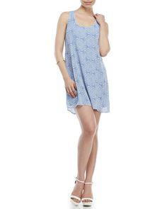Printed Crochet Back Swing Dress