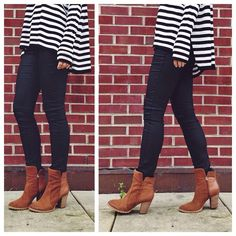 Stripes + denim + boots = perfect fall outfit idea.