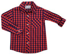 "The Dragon and The Rabbit ""Navy + Red Gingham"" Button Down Shirt"